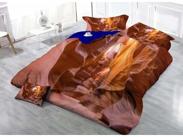 3D Antelope Cave Printed Cotton 4-Piece Bedding Sets/Duvet Covers