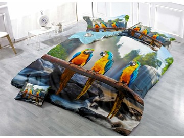 Parrots on a Branch Print Cotton 4-Piece Bedding Sets/Duvet Covers
