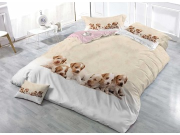 3D Puppies Digital Printing Cotton 4-Piece Bedding Sets/Duvet Covers