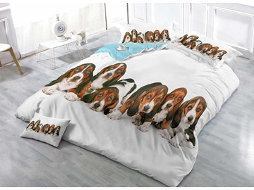 3D Beagle Puppies Printed Cotton 4-Piece Bedding Sets/Duvet Covers