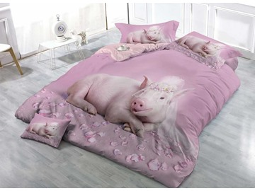 Pink Princess Pig Cotton 3D 4-Pieces Bedding Sets/Duvet Covers