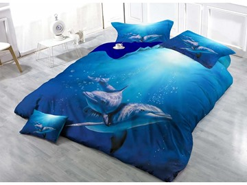 3D Dolphin Printed Blue Cotton 4-Piece Bedding Sets/Duvet Covers