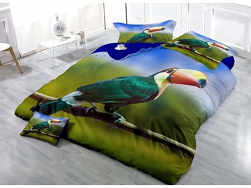 3D Tropical Toucan Printed Cotton 4-Piece Bedding Sets/Duvet Covers