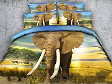 3D Elephant Digital Printing 4-Piece Bedding Sets/Duvet Covers