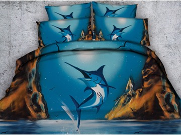 3D Tuna Digital Printing Blue 5-Piece Comforter Sets