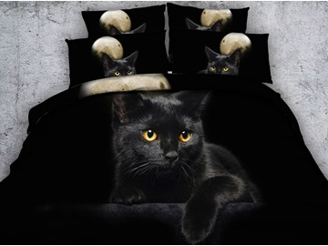 3D Black Kitten Digital Printing 5-Piece Tencel Comforter Sets