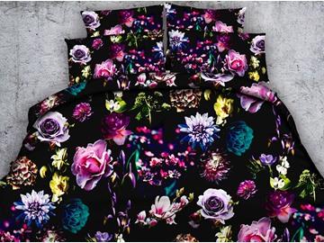Colorful Floral 3D Digital Printing 5-Piece Comforter Sets