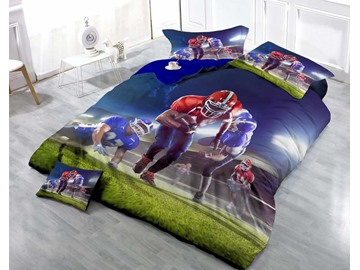 3D Strong Man Running and Deep Blue Night Cotton 4-Piece Bedding Sets