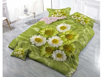 3D Daisies Printed Cotton 4-Piece Luxury Green Bedding Sets/Duvet Covers