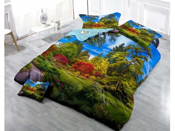 3D Maple Tree and Pine Printed Cotton 4-Piece Bedding Sets/Duvet Cover