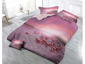 3D Pink Flamingo Printed Cotton 4-Piece Luxury Bedding Sets/Duvet Covers