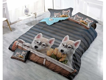 3D Husky Puppies Printed Cotton 4-Piece Luxury Bedding Sets/Duvet Covers