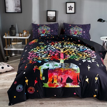 3D Colorful Elephant and Tree Printed Polyester 3-Piece Black Bedding Sets