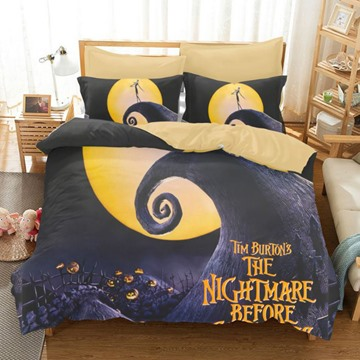 3D Halloween's Pumpkin Printed Polyester 3-Piece Bedding Sets/Duvet Covers