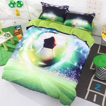 Onlwe 3D Soccer Ball with Stadium Printed Cotton 4-Piece Bedding Sets/Duvet Covers