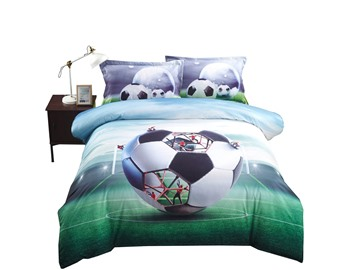 3D Creative Structure of Soccer Printed Cotton 4-Piece Bedding Sets/Duvet Covers