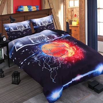 3D Basketball Ball in Fire and Water Printed 4-Piece Bedding Sets/Duvet Covers