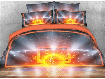 3D Fiery Basketball and Backboard Printed Cotton 4-Piece Bedding Sets/Duvet Covers