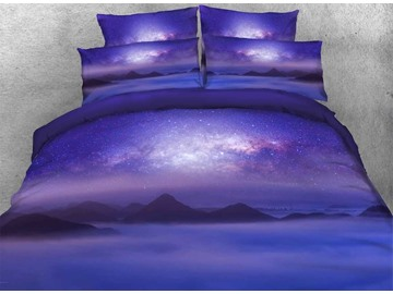 Mountain under Galaxy Printed Cotton 3D 4-Piece Purple Bedding Sets/Duvet Covers