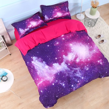 Onlwe 3D Galaxy Cluster Printed Cotton 4-Piece Purple Bedding Sets/Duvet Covers
