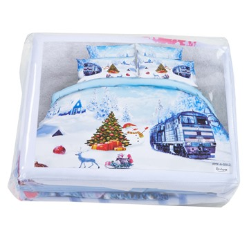 Onlwe 3D Christmas Snowman and Train Printed Cotton 4-Piece Bedding Sets/Duvet Covers