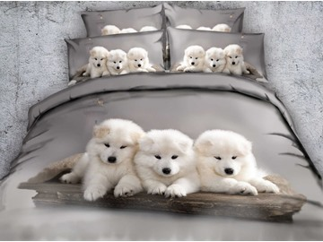 White Puppies and Lighthouse Printed Cotton 4-Piece 3D Bedding Sets/Duvet Covers