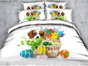 3D Easter Eggs and Puppy Printed Cotton 4-Piece White Bedding Sets/Duvet Covers