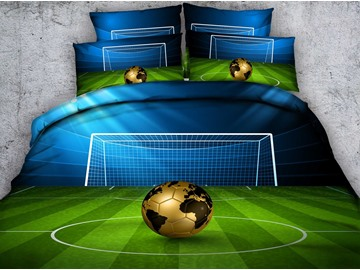 3D Soccer Ball with Gate Printed Cotton 4-Piece Bedding Sets/Duvet Covers