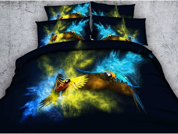 3D Two Parrots Fighting Printed Cotton 4-Piece Bedding Sets/Duvet Covers