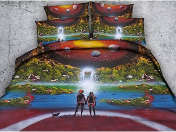 3D Waterfall Scenery and Lovers Printed Cotton 4-Piece Bedding Sets/Duvet Covers