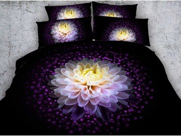 3D Dahlia and Hearts Printed Cotton 4-Piece Black Bedding Sets/Duvet Covers