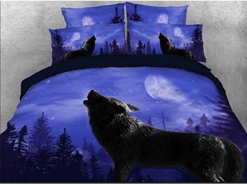 Vivilinen Howling Wolf Printed Cotton 3D 4-Piece Bedding Sets/Duvet Covers