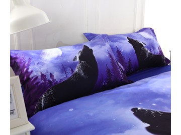 3D Howling Wolf Printed Cotton 4-Piece Bedding Sets/Duvet Covers