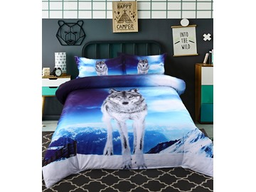 Onlwe 3D Wolf under the Sky Printed Cotton 4-Piece Bedding Sets/Duvet Covers