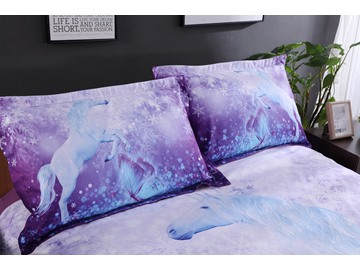 Onlwe Purple Unicorn Printed Cotton All Season 3D 4-Piece Bedding Sets/Duvet Covers
