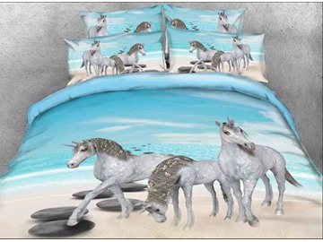 Onlwe 3D Unicorn Family at the Beach Printed 4-Piece Bedding Sets/Duvet Covers
