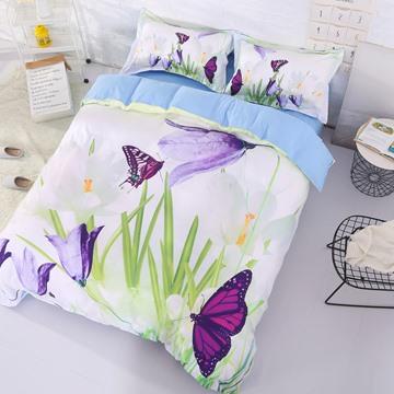 Onlwe 3D Saffron Crocus and Butterfly Printed Cotton 4-Piece Bedding Sets/Duvet Covers