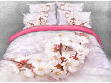 Onlwe 3D Cherry Blossom Printed Cotton 4-Piece Bedding Sets/Duvet Covers