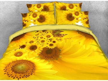 Yellow Sunflower Printed Cotton 3D 4-Piece Bedding Sets/Duvet Covers