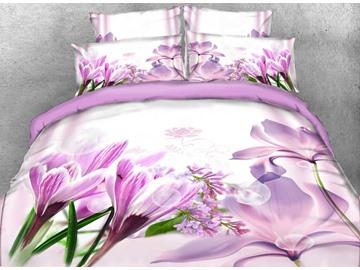 Onlwe 3D Crocus and Magnolia Printed Cotton 4-Piece Bedding Sets/Duvet Covers
