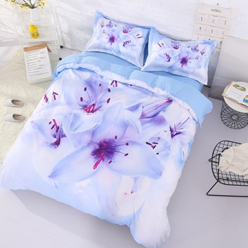 Onlwe 3D Cluster of Lilies Printed Cotton 4-Piece Bedding Sets/Duvet Covers