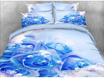 Onlwe 3D Blue Roses and Bubbles Printed Cotton 4-Piece Bedding Sets/Duvet Covers