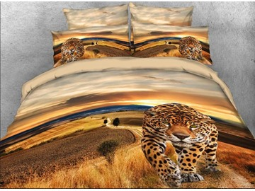 Onlwe 3D Leopard Walking on Road Printed Cotton 4-Piece Bedding Sets/Duvet Covers
