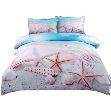 Onlwe 3D Starfish and Shells on the Beach Printed Cotton 4-Piece Bedding Sets