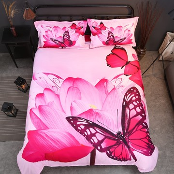 Onlwe 3D Butterfly and Pink Lotus Printed Cotton 4-Piece Bedding Sets/Duvet Covers