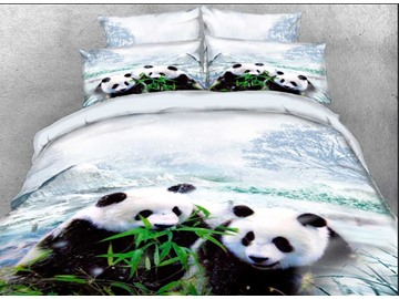 Onlwe 3D Panda Cub Eating Bamboo Printed Cotton 4-Piece Bedding Sets/Duvet Covers
