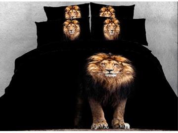 Onlwe 3D Standing Lion Printed Cotton 4-Piece Black Bedding Sets/Duvet Covers