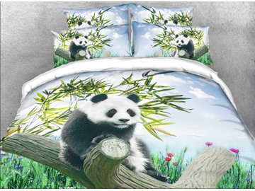 Onlwe 3D Panda on a Branch Printed Cotton 4-Piece Bedding Sets/Duvet Covers