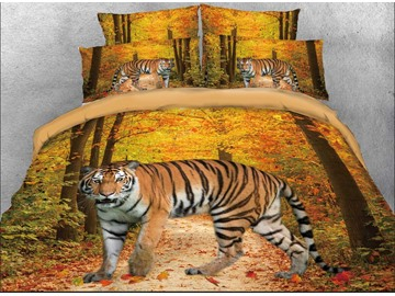 Onlwe 3D Tiger in the Forest Cotton 4-Piece Bedding Sets/Duvet Covers