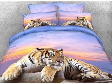 Onlwe 3D Tiger Crouching on a Rock Printed 4-Piece Bedding Sets/Duvet Covers